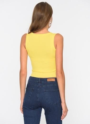 Loves You Çıtçıtlı Kalın Askılı Bluz Sarı
